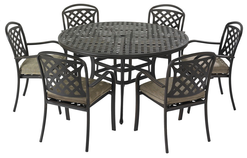 Berkeley cast aluminium 6 seater round garden dining set for Metal garden table and chairs