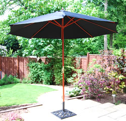 Image of Black Hardwood Garden Parasol - 3m