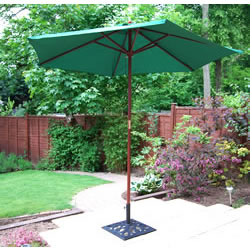 Small Image of Black Hardwood Garden Parasol with Crank - 3m