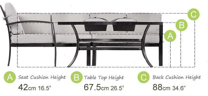 Cosy corner break down of heights. Seat height: 42cm. Table Top Height: 68cm. Cushion Back Height: 88cm.