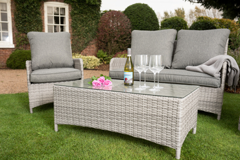 Extra image of Manhattan Rattan Weave Sofa Lounge Set in Harbour Grey