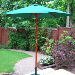 Small Image of Green Hardwood Garden Parasol - 200cm