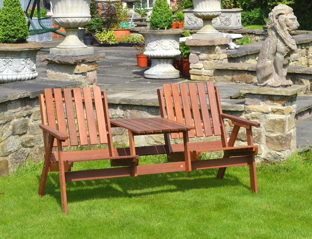 Fsc acacia heart to heart garden love seat for Garden love seat uk