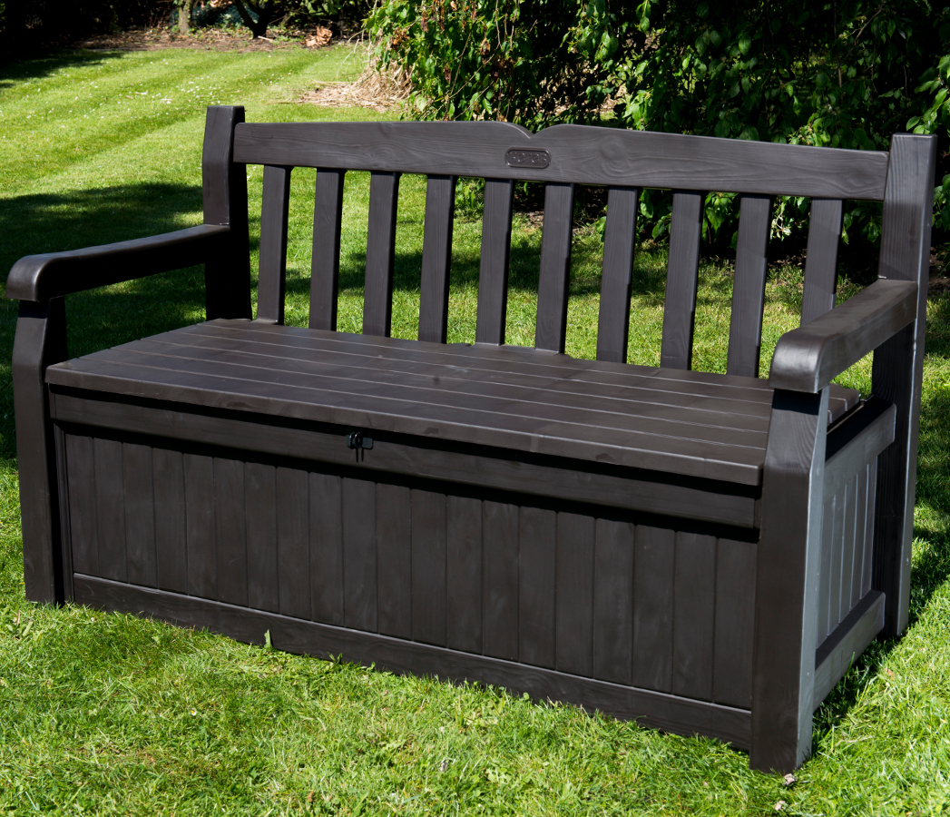 Iceni 2 seater storage bench dark brown wood effect for Outdoor furniture benches