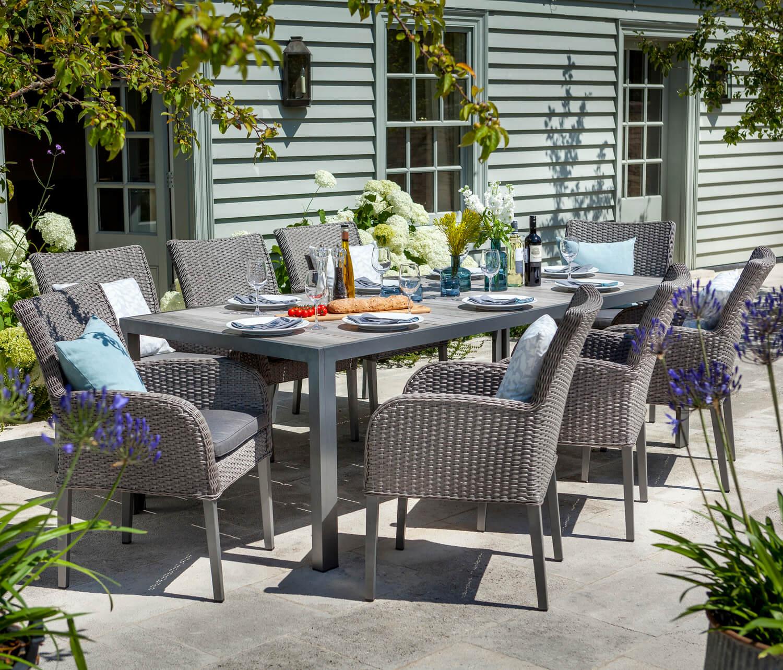 Atlanta ceramic fibreline 8 seat dining set without for Outdoor furniture atlanta