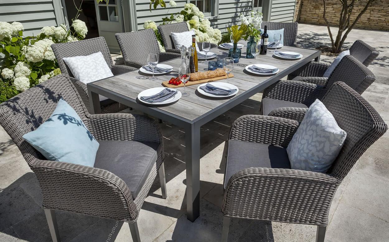 Atlanta ceramic fibreline 8 seat dining set in platinum for Outdoor furniture atlanta