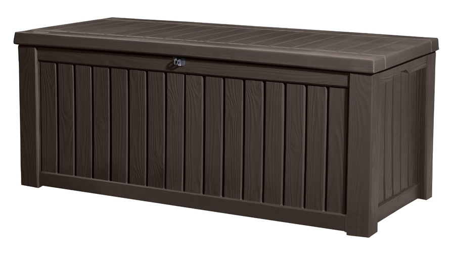 Keter Rockwood Storage Box Dark Brown Wood Effect 145 Garden4less Uk Shop