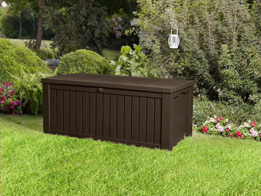 keter rockwood storage box dark brown wood effect 134 garden4less uk shop. Black Bedroom Furniture Sets. Home Design Ideas