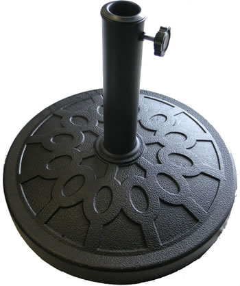Image of Black Resin and Fibreglass Parasol Base with Steel Pole
