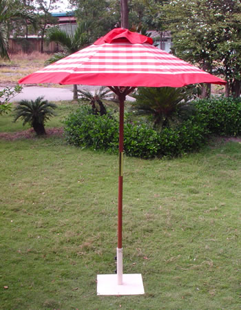 Image of Terracotta Check  Hardwood Garden Parasol - 1.8m
