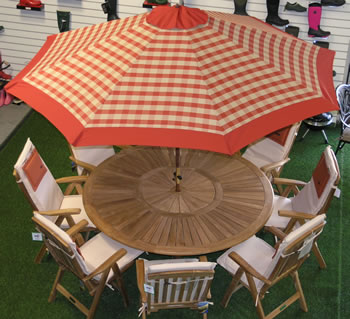Image of Terracotta Check Hardwood Garden Parasol with Crank - 2.1m