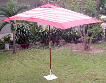 Image of Terracotta Check Hardwood Garden Parasol Umbrella - 3x2m