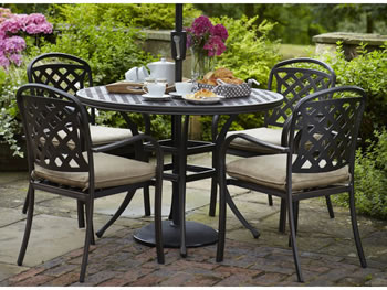 Berkeley Cast Aluminium 4 Seater Round Garden Dining Set
