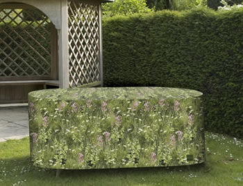 Image of Camouflage Medium Oval Patio Furniture Cover - Long Grass