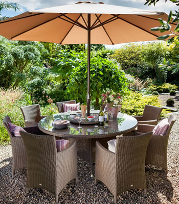 Image of Madison Weave 8 Seater Rattan Dining Set by Hartman Sepia/Henna