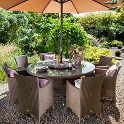 Small Image of Madison Weave 8 Seater Rattan Dining Set by Hartman Sepia/Henna