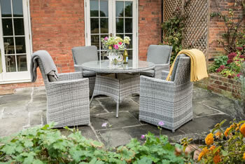 Image of Norfolk Leisure Handpicked Cadiz 4 Seater Dining Set in Harbour Grey