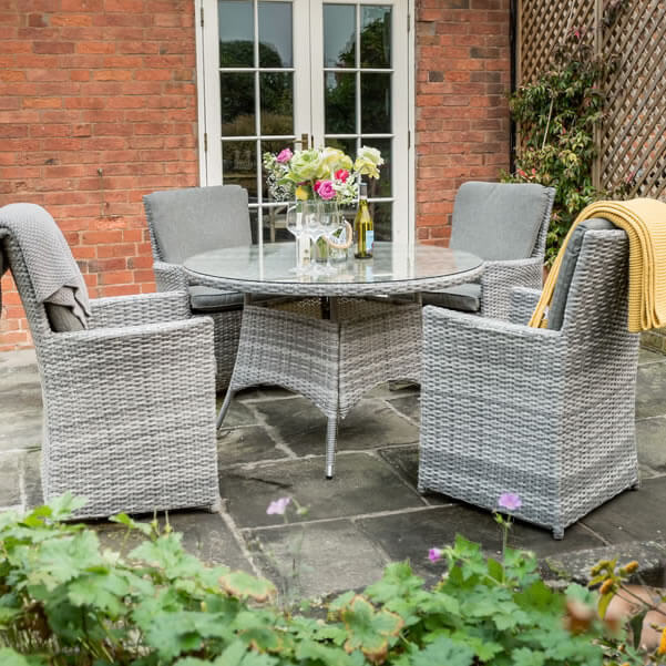 Small Image of Norfolk Leisure Handpicked Cadiz 4 Seater Dining Set in Harbour Grey