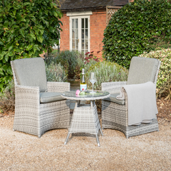 Image Of Manhattan 2 Seater Bistro Weave Furniture Set In Harbour Grey