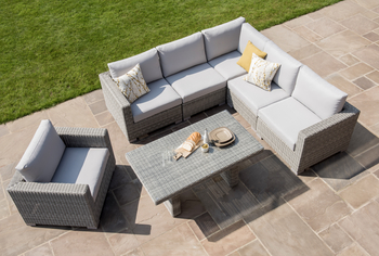 Image of Maui 6 Seater Casual Dining Corner Furniture Set from LIFE - Yacht Grey