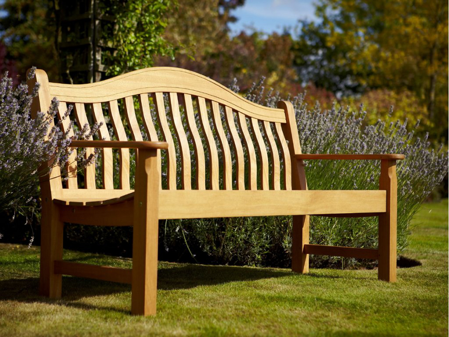 Norbury 3 seater hardwood garden bench from hartman 246 for Hardwood outdoor furniture