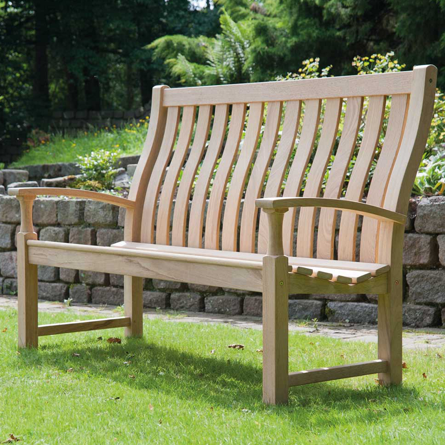 Small Image Of Roble Santa Cruz 5ft High Back FSC Garden Bench From Alexander Rose
