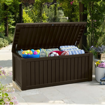 Image of Keter Rockwood Storage Box - Dark Brown Wood Effect