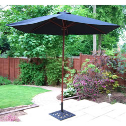 Small Image of Black Hardwood Garden Parasol - 270cm