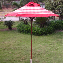 Small Image of Terracotta Check  Hardwood Garden Parasol - 1.8m