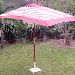 Small Image of Terracotta Check Hardwood Garden Parasol Umbrella - 3x2m
