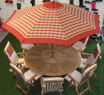 Terracotta Check Hardwood Garden Parasol with Crank - 2.75m