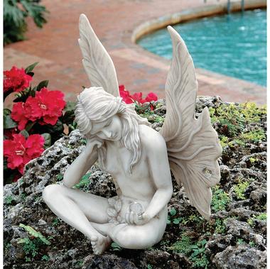 Gazing Garden Fairy Resin Ornament By Design Toscano 28