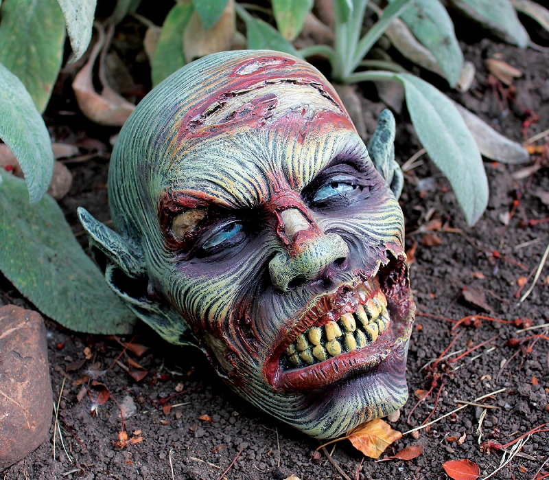 lost zombie head resin garden ornament by design toscano