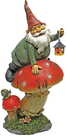 Image of Garden Gnomes - Telsa with Lamp Garden Gnome