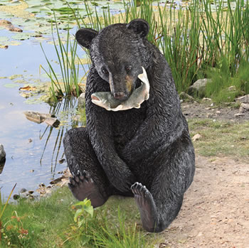 Image of Black Bear with Fish Resin Garden Statue