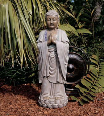 Image of Hands Together Buddha Resin Garden Ornament by Design Toscano