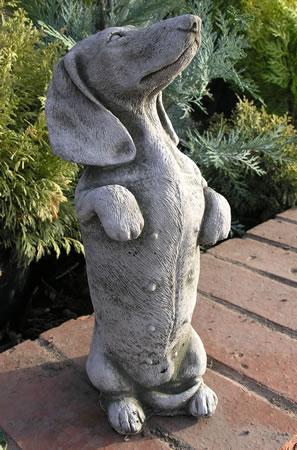 Stone Daschund Sausage Dog Statue Ornament 163 19 99