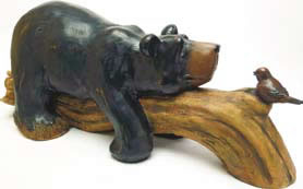 Image of Lazy Bear on a Log Resin Ornament