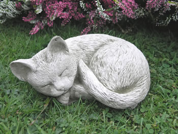 Image of Sleeping Cat Stone Garden Ornament - CT1