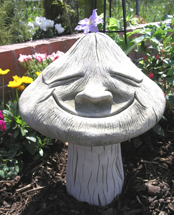Image of Smiling Toadstool Stone Gartden Ornament Statue