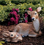 Small Image of Mother Doe and Fawn Deer Resin Garden Ornament