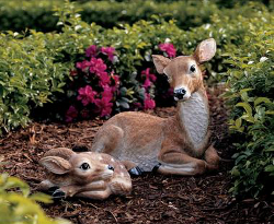 Image of Mother Doe and Fawn Deer Resin Garden Ornament