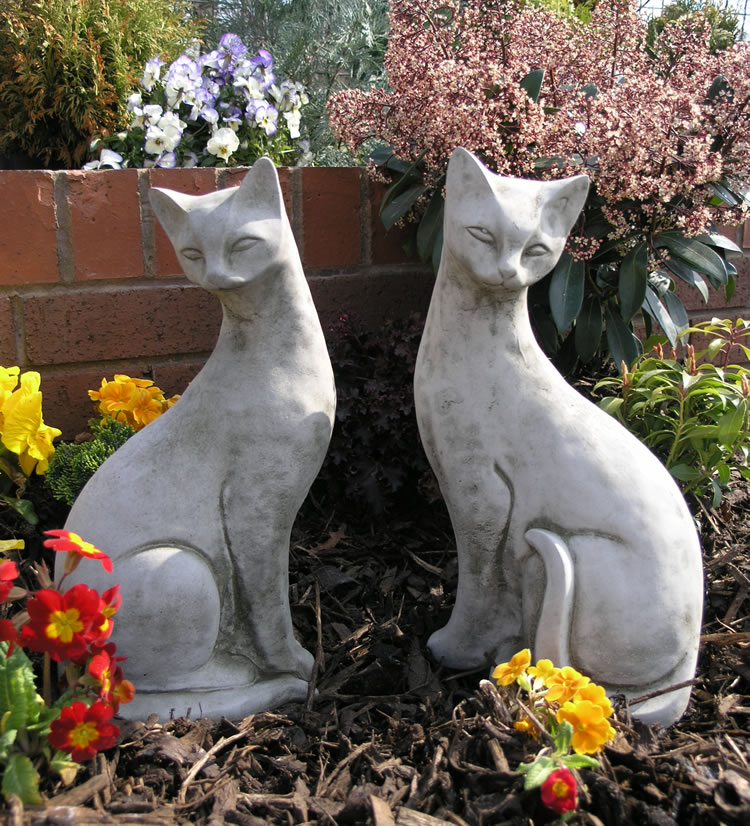 Pair of Siamese Cats Garden Ornaments - £42.99 ... on Backyard Ornaments id=64662