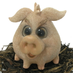 Image of Cute and Playful Sitting Pig - Resin Garden Ornament