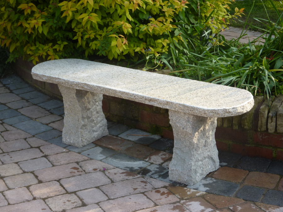 Beige rustic stone garden bench garden4less uk shop Stone garden bench