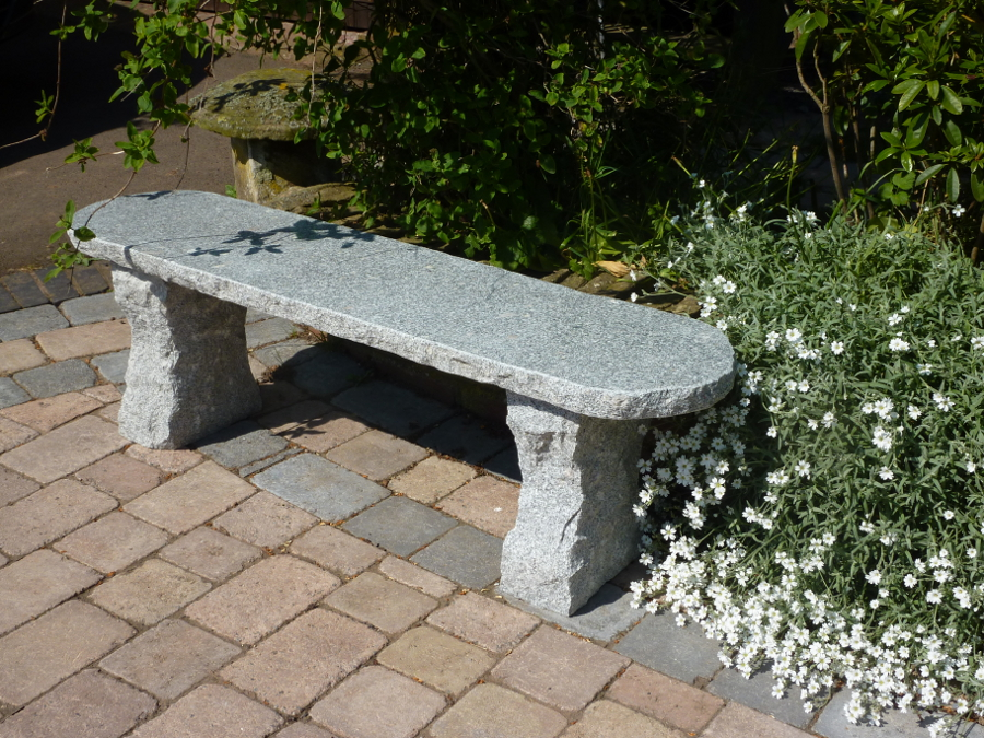 Grey rustic stone garden bench garden4less uk shop Stone garden bench