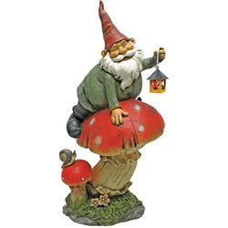 Small Image of Garden Gnomes - Telsa with Lamp Garden Gnome