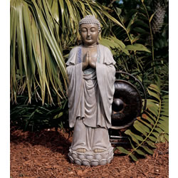 Small Image of Hands Together Buddha Resin Garden Ornament by Design Toscano