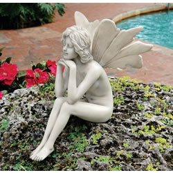 Small Image of Pondering Garden Fairy Resin Ornament