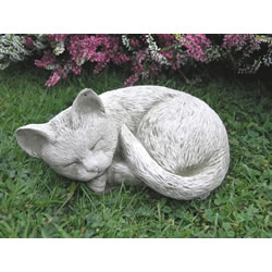 Small Image of Sleeping Cat Stone Garden Ornament - CT1